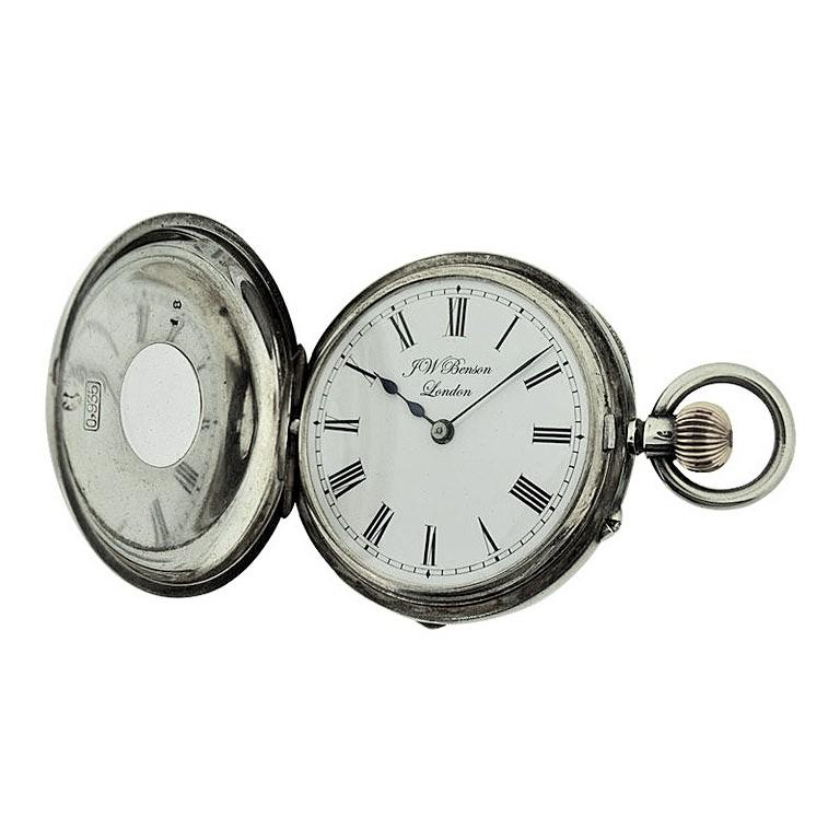 FACTORY / HOUSE: J.W.Benson London  STYLE / REFERENCE: Half Hunters Case  METAL / MATERIAL: Sterling Silver CIRCA: 1890's  DIMENSIONS: 39mm MOVEMENT / CALIBER: Manual Winding / 13 Jewels  DIAL / HANDS: Original Kiln Fired Enamel with Roman Numerals