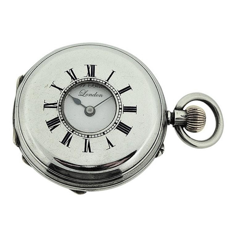 Art Nouveau J.W. Benson Sterling Silver Half Hunters Case Pocket Watch, circa 1890s For Sale