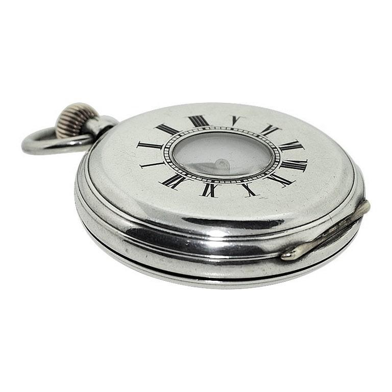 J.W. Benson Sterling Silver Half Hunters Case Pocket Watch, circa 1890s In Excellent Condition For Sale In Long Beach, CA