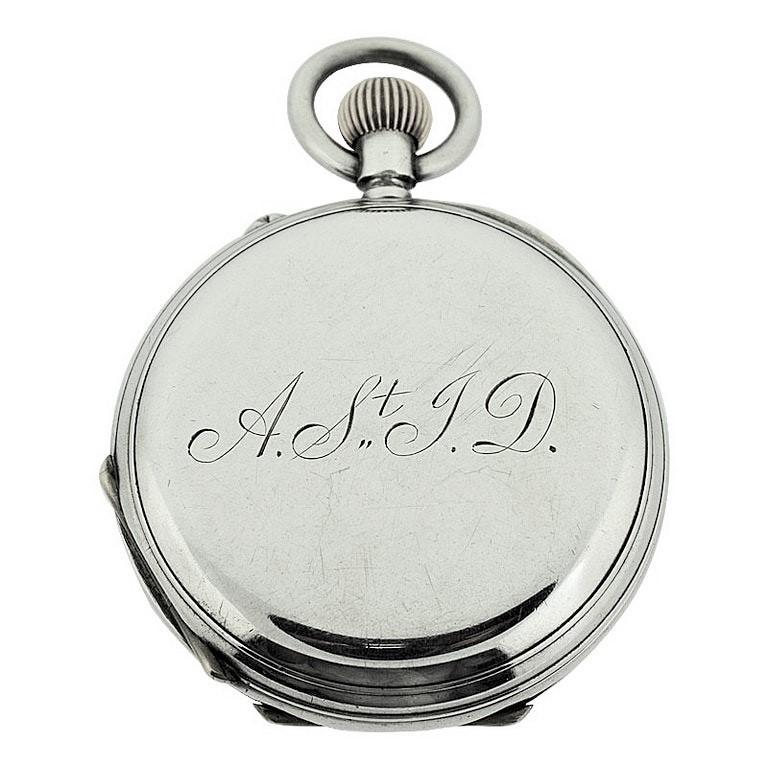 J.W. Benson Sterling Silver Half Hunters Case Pocket Watch, circa 1890s For Sale 1