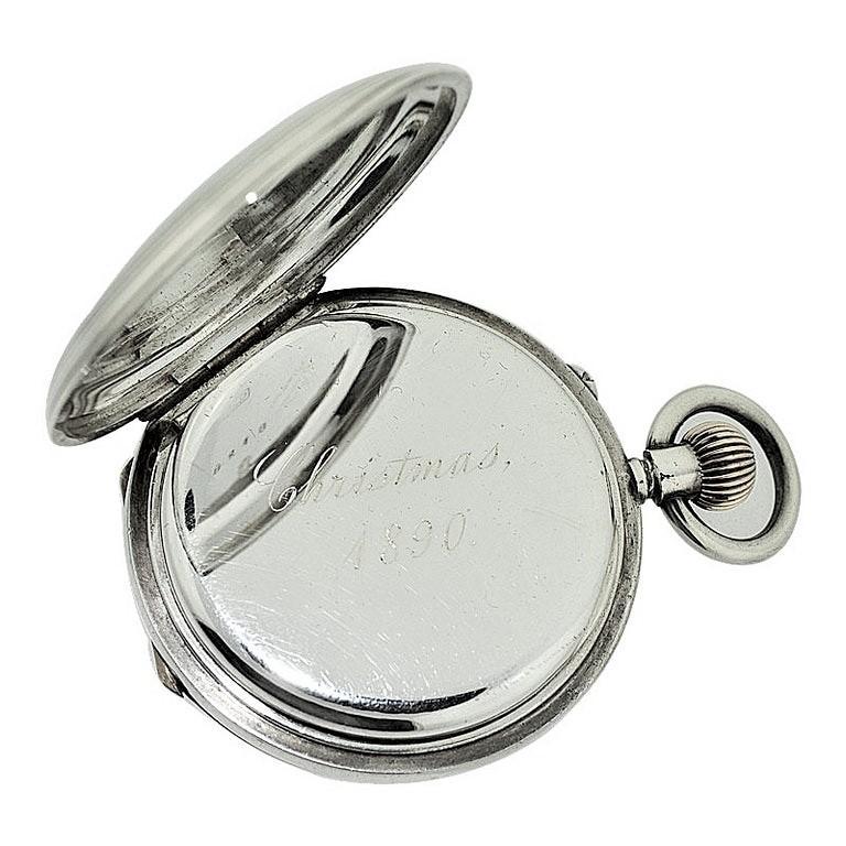 J.W. Benson Sterling Silver Half Hunters Case Pocket Watch, circa 1890s For Sale 2