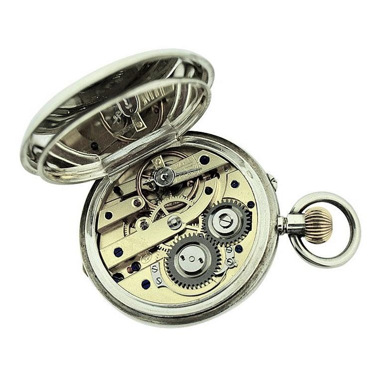 J.W. Benson Sterling Silver Half Hunters Case Pocket Watch, circa 1890s For Sale 3