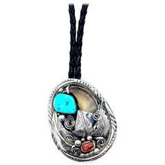 JW TOADLENA Native American Bear Bolo Tie with Turquoise and Coral 4