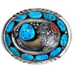 JW Toadlena Native American Bear Belt Buckle with Turquoise and Coral 2.95 Oz