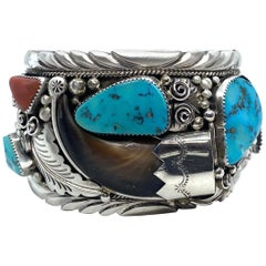 JW Toadlena Native American Bear Cuff Bracelet with Turquoise and Coral 4.12 Oz