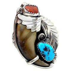 JW Toadlena Native American Bear Ring with Turquoise and Coral Sterling
