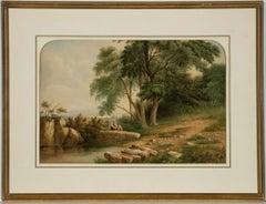 J.W. Tuton - 1856 English Watercolour, Landscape with Figures Beside a Pond