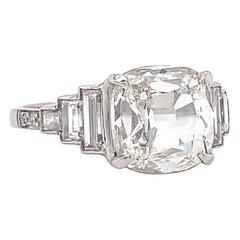 GIA 2.82 Carat Antique Cushion Cut Diamond Platinum Engagement Ring