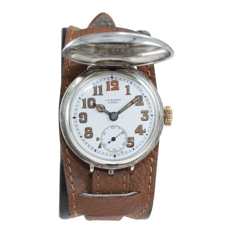 Art Deco J.W. Benson Silver Campaign Style Hunters Case Watch with Original Dial For Sale