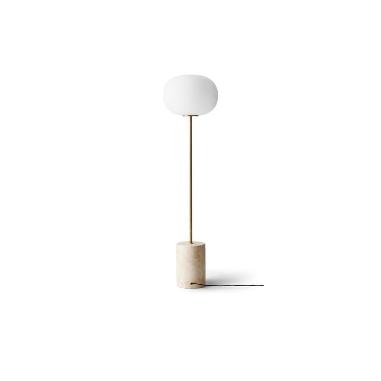 Scandinavian Modern JWDA Floor Lamp, Travertine Base with Brushed Brass For Sale