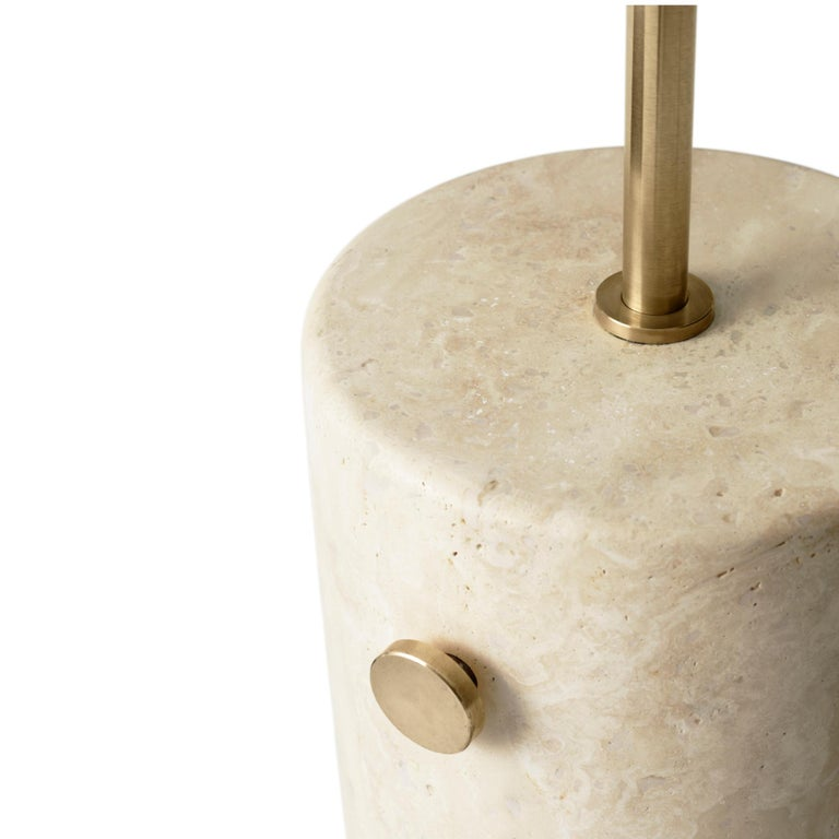 Chinese JWDA Floor Lamp, Travertine Base with Brushed Brass For Sale