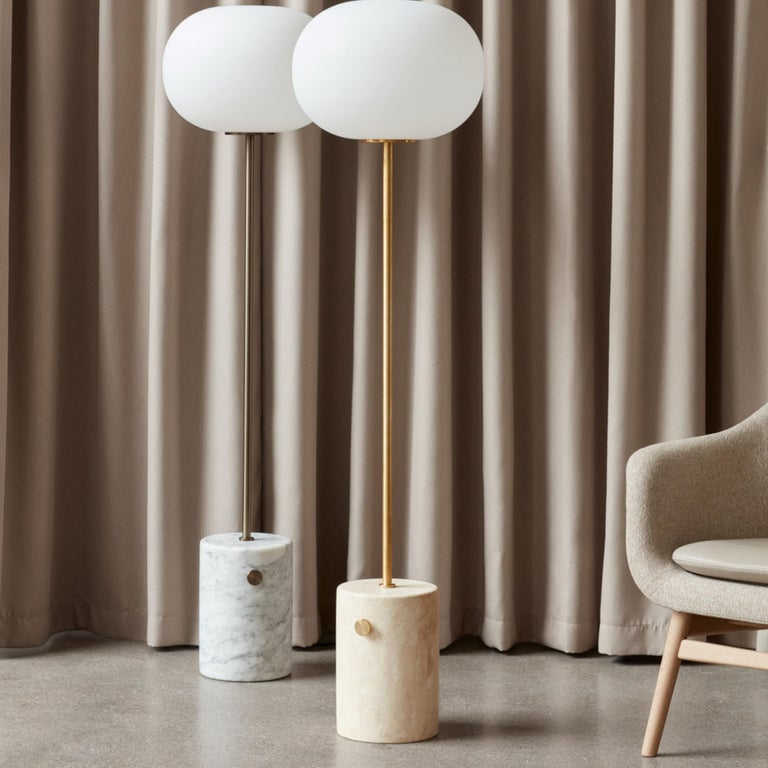 JWDA Floor Lamp, Travertine Base with Brushed Brass In New Condition For Sale In San Marcos, CA