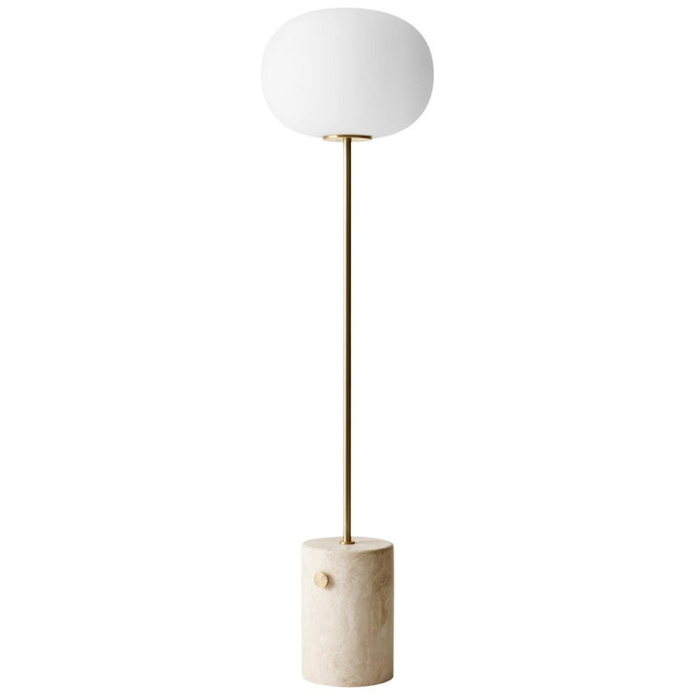 JWDA Floor Lamp, Travertine Base with Brushed Brass For Sale