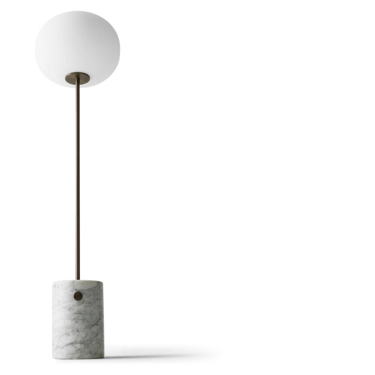 JWDA Floor Lamp, White Marble Base with Bronzed Brass In New Condition For Sale In San Marcos, CA