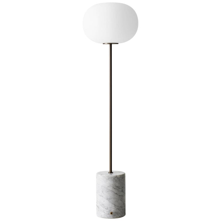 JWDA Floor Lamp, White Marble Base with Bronzed Brass For Sale