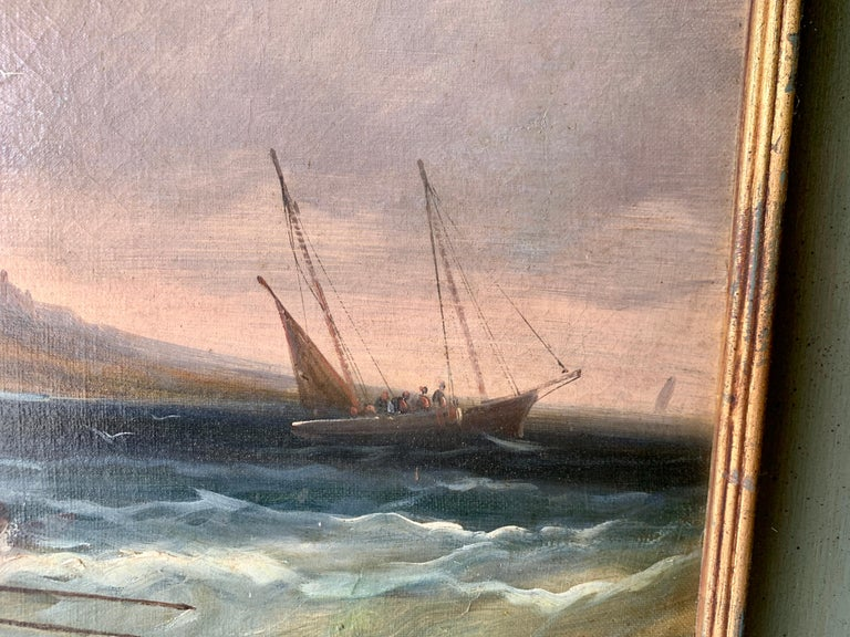 French 19th century fishing boats off the coast with figures, houses and beach - Victorian Painting by J.Willems