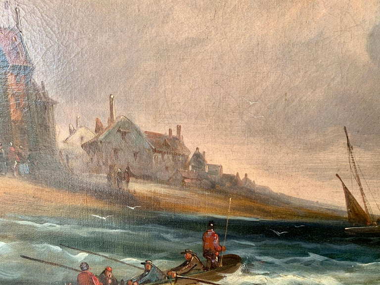 French 19th century fishing boats off the coast with figures, houses and beach - Brown Landscape Painting by J.Willems