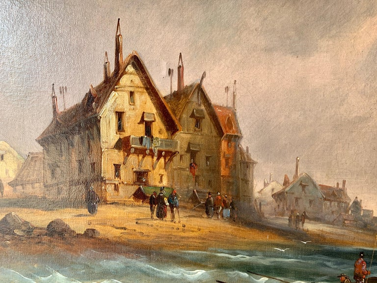 Late 19th-century oil on canvas.   A very decorative and well-painted marine, beach scene, very much in the style of Charles Euphrasie Kuwasseg who was a well-known painter of such scenes. This piece has great quality, skill, color, and