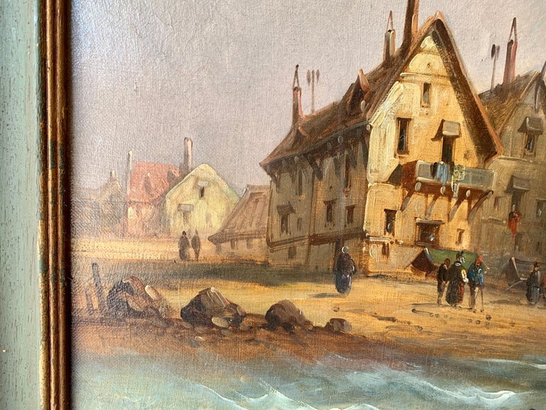 French 19th century fishing boats off the coast with figures, houses and beach For Sale 1