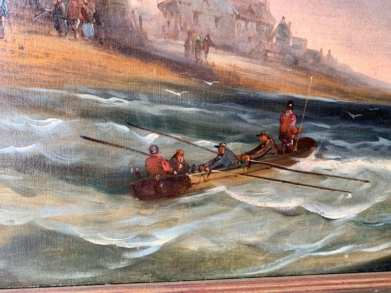 French 19th century fishing boats off the coast with figures, houses and beach For Sale 3
