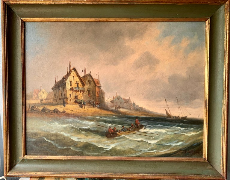 J.Willems Landscape Painting - French 19th century fishing boats off the coast with figures, houses and beach