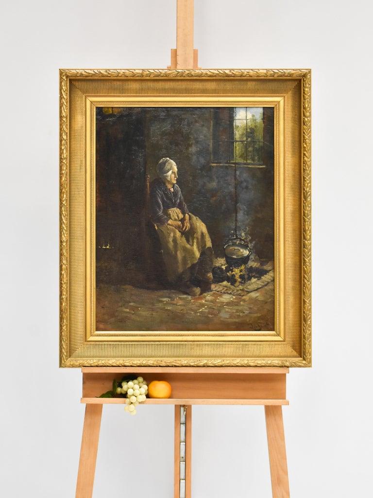 Peasant Woman - Dutch - Romantic - Interior - Classic - Netherlands - Beaux-Arts - Painting by J.W.S. de Groot