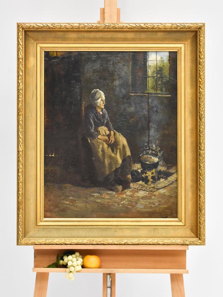 Peasant Woman - Dutch - Romantic - Interior - Classic - Netherlands - Beaux-Arts - Black Figurative Painting by J.W.S. de Groot