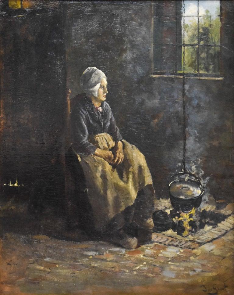 J.W.S. de Groot Figurative Painting - Peasant Woman - Dutch - Romantic - Interior - Classic - Netherlands - Beaux-Arts