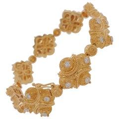 JYE'S Etruscan Style Modern Bracelet 18 Karat Yellow Gold set with Diamonds