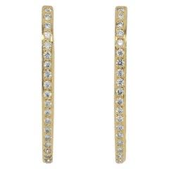 Jye's International Yellow Gold Round Diamond Hoop Earrings