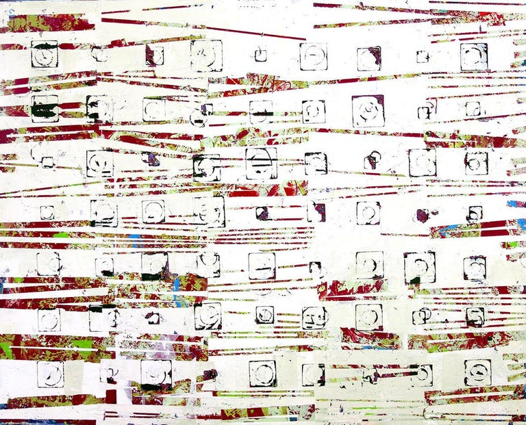 """Jylian Gustlin Abstract Painting - """"Entropy 39"""" Abstract mixed media painting in red, white and light green"""