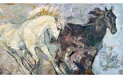 """Equus by Jylian + Dave Gustlin"" Mixed media painting of two horses"