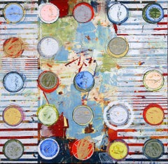 """Fibonacci 414"" Abstract mixed media painting with white, blue, yellow and red"