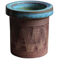 Jytte Trebbien Studio Vase, Semi-Glazed Stoneware, Denmark, 1960s