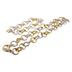 K. Brunini Sterling Silver and Gold Twig Loop Chain Bracelet and Necklace Set