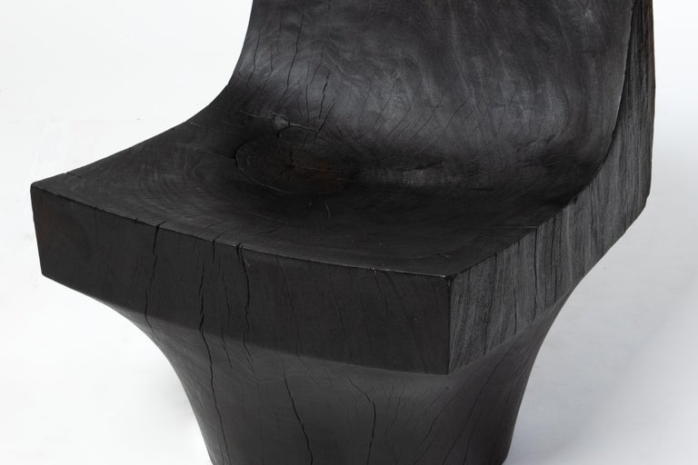 Blackened 'K Chair' Hand Carved Salvaged Almendro Wood Chair For Sale