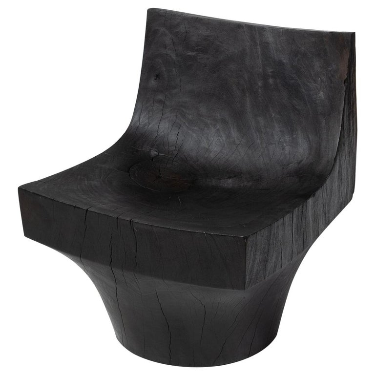 'K Chair' Hand Carved Salvaged Almendro Wood Chair For Sale