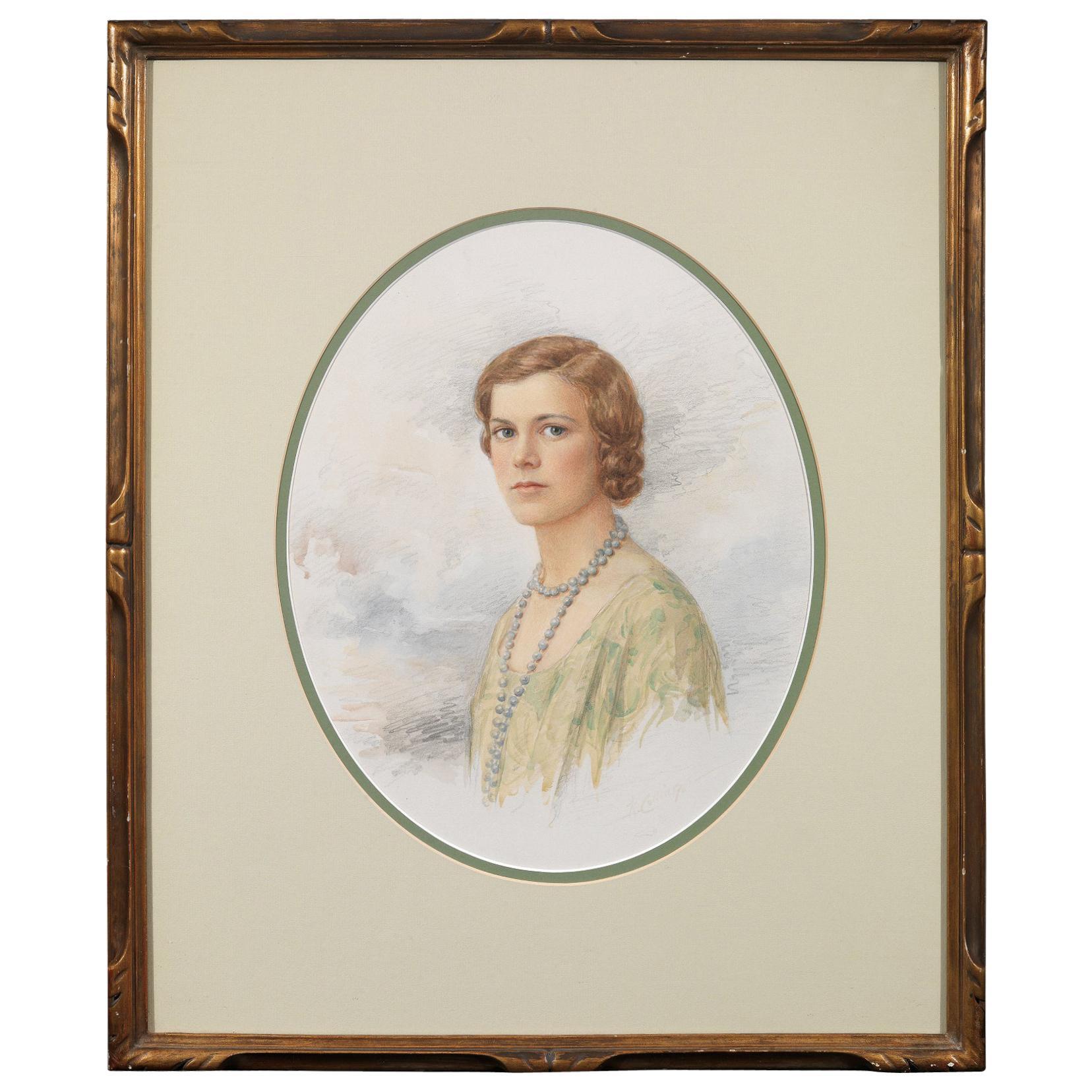 K. Collings Watercolour Portrait of a Lady