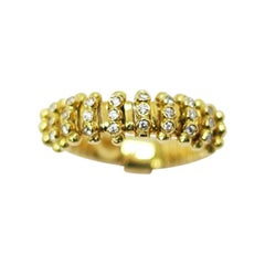 K di Kuore 18 Karat Yellow Gold Flexo Ring with Diamond Mist