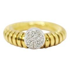 K di Kuore Italian Designer Flexo System 18k Yellow Gold Ring with Diamond Cente