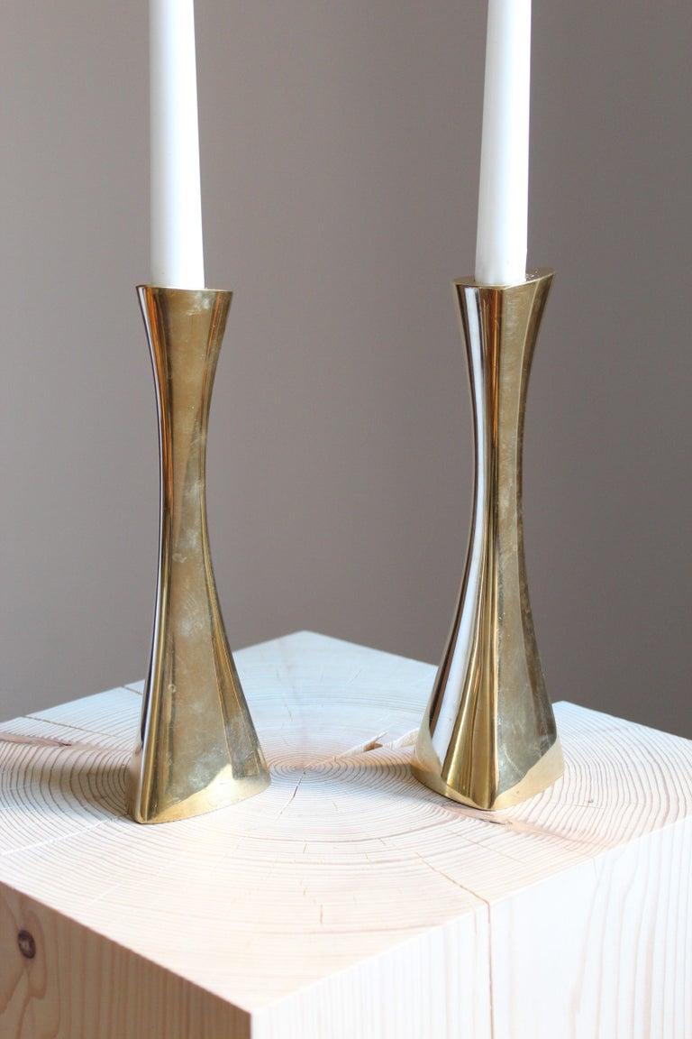 Mid-Century Modern K-E Ytterberg, Candlesticks, Brass, for Bca Eskilstuna, Sweden, 1950s For Sale