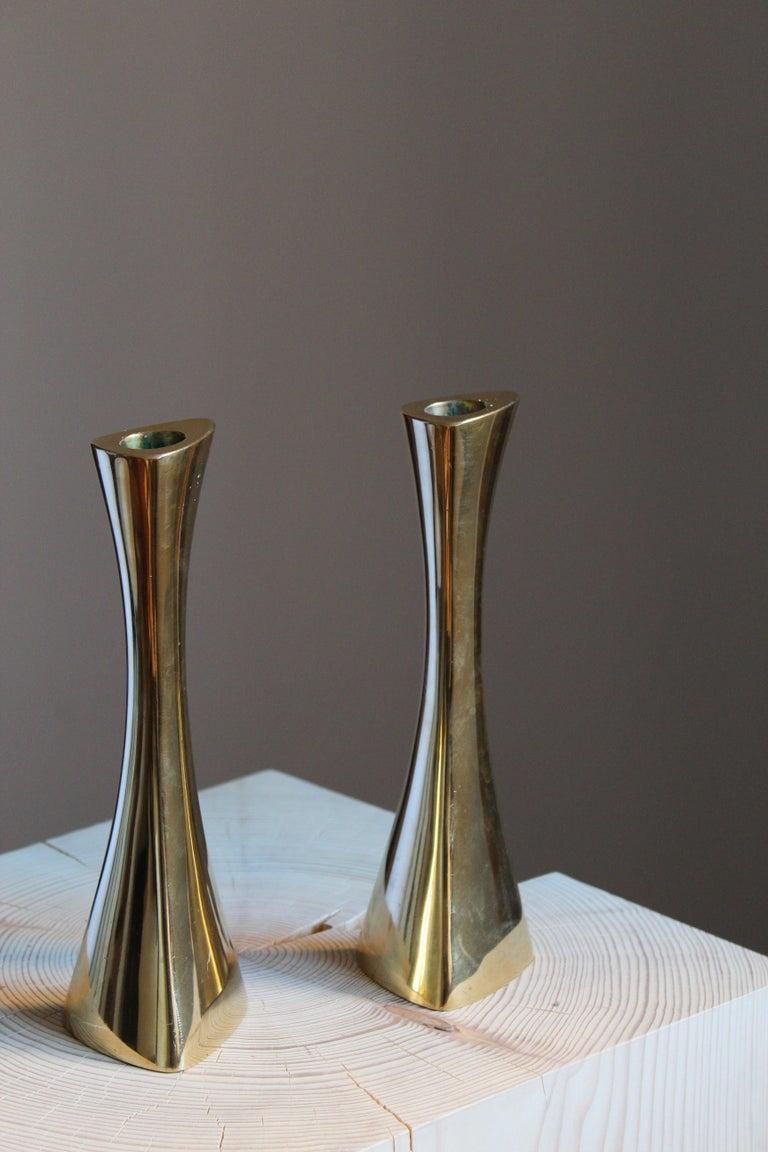 Swedish K-E Ytterberg, Candlesticks, Brass, for Bca Eskilstuna, Sweden, 1950s For Sale