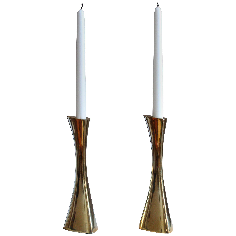 K-E Ytterberg, Candlesticks, Brass, for Bca Eskilstuna, Sweden, 1950s