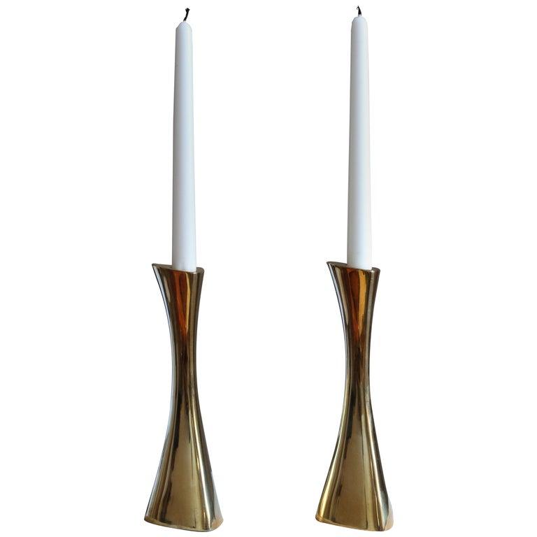 K-E Ytterberg, Candlesticks, Brass, for Bca Eskilstuna, Sweden, 1950s For Sale