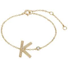 K Initial Bezel Chain Anklet