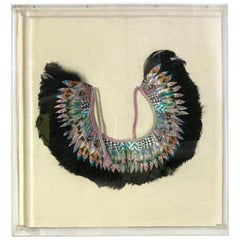 K. Lee Manuel Framed Feather and Textile Necklace/ Collar