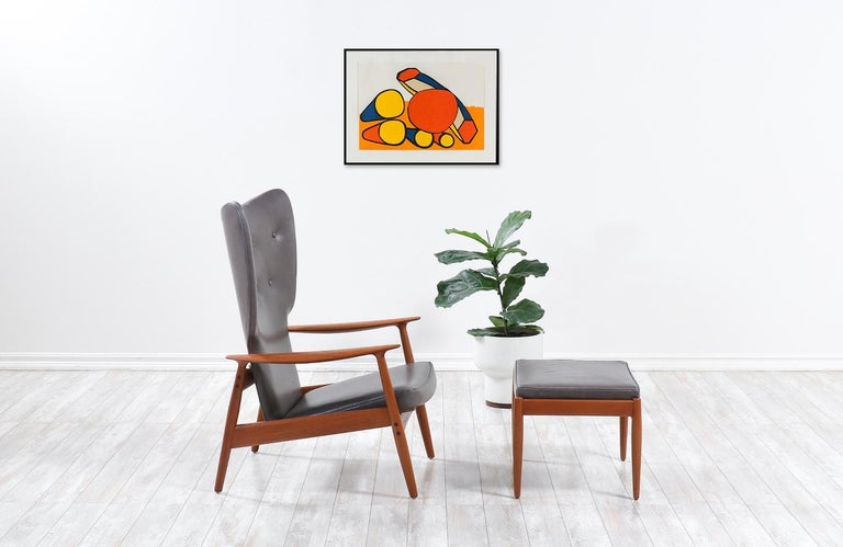 Scandinavian Modern K. Rasmussen Leather and Teak Wingback Lounge Chair with Ottoman For Sale