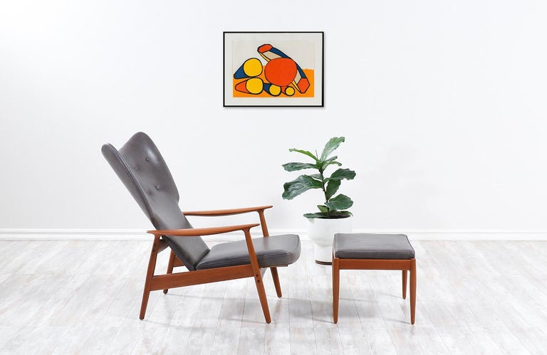 Norwegian K. Rasmussen Leather and Teak Wingback Lounge Chair with Ottoman For Sale