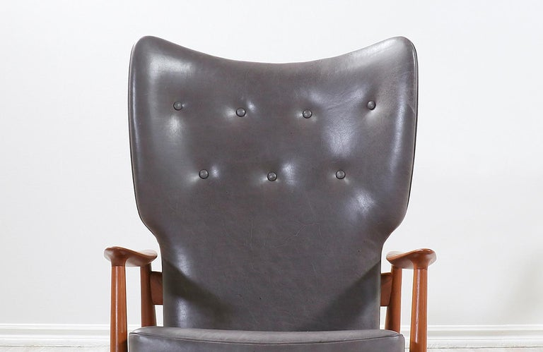 K. Rasmussen Leather and Teak Wingback Lounge Chair with Ottoman For Sale 3