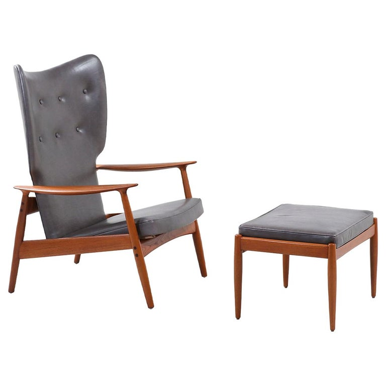K. Rasmussen Leather and Teak Wingback Lounge Chair with Ottoman For Sale
